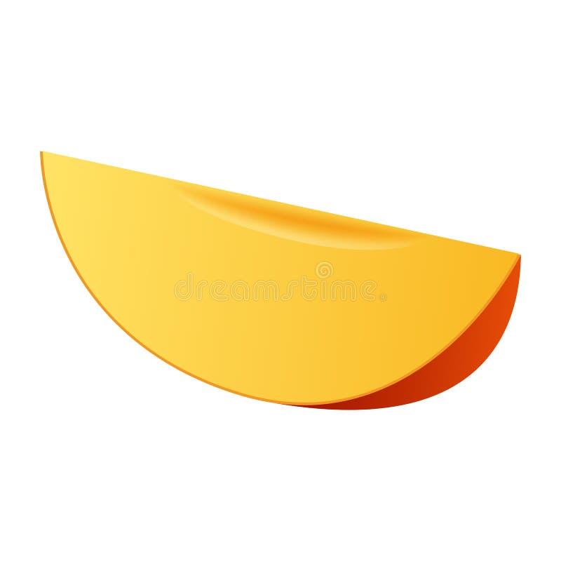Fetta di icona del mango, stile realistico illustrazione vettoriale