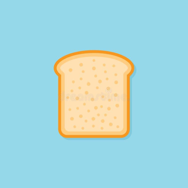 Fetta di icona piana di stile del pane del pane tostato Illustrazione di vettore illustrazione vettoriale