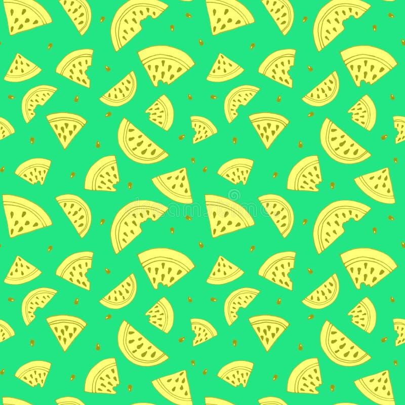 Fetta di modello senza cuciture dell'anguria L'illustrazione in bianco e nero colora su verde Pagina di coloritura illustrazione vettoriale