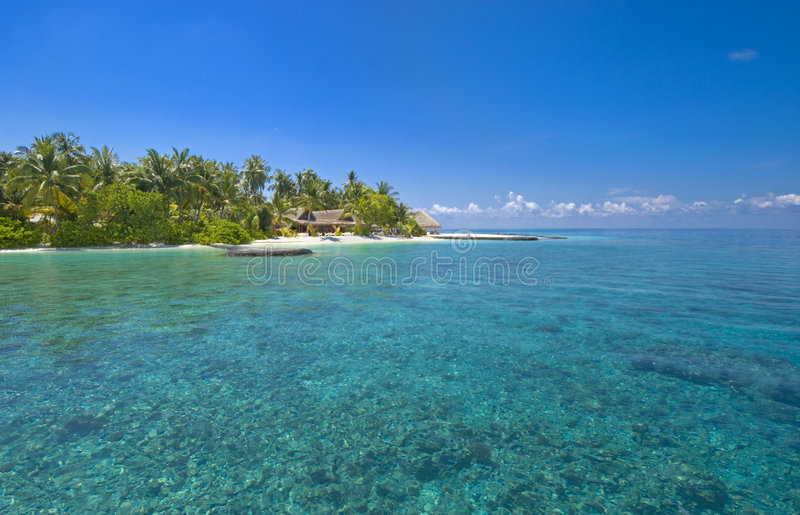 Fetta di paradiso all'isola Maldive isolata fotografia stock