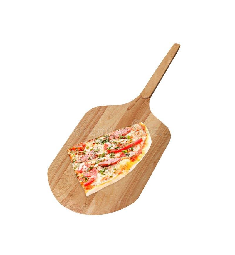 Fetta di pizza con il fungo isolato fotografia stock libera da diritti