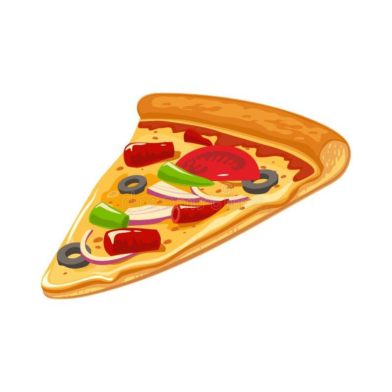 Fetta di pizza messicana Illustrazione piana isolata di vettore per il manifesto, i menu, il logotype, l'opuscolo, il web e l'ico royalty illustrazione gratis