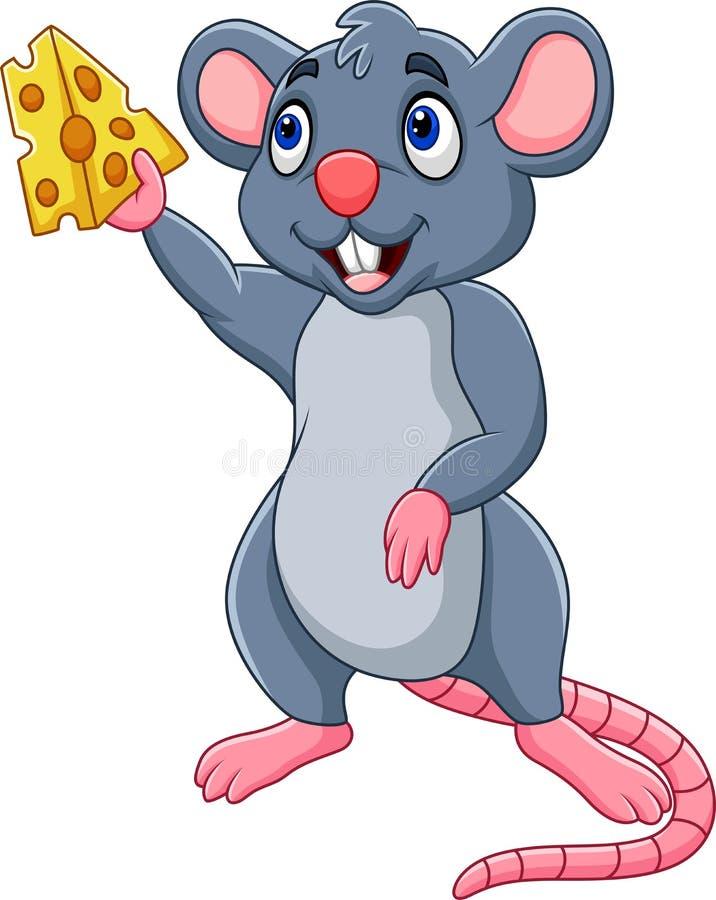 Fetta di rappresentazione del topo del fumetto di formaggio illustrazione di stock