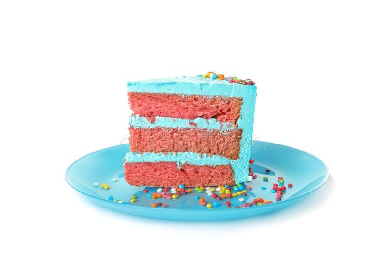 Fetta di torta di compleanno deliziosa fresca fotografie stock