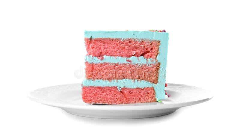 Fetta di torta di compleanno deliziosa fresca immagine stock libera da diritti