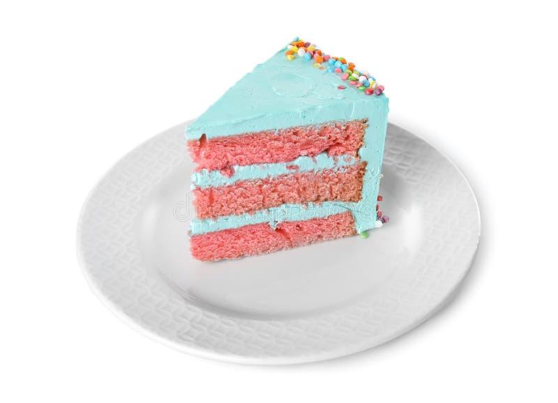 Fetta di torta di compleanno deliziosa fresca su bianco immagine stock libera da diritti
