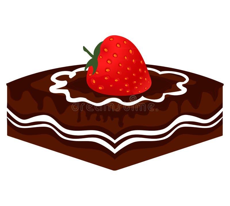 Fetta di vettore di dolce di cioccolato con la fragola illustrazione di stock