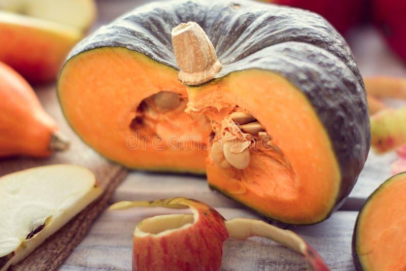 Fetta di zucca verde e fetta di mela immagine stock