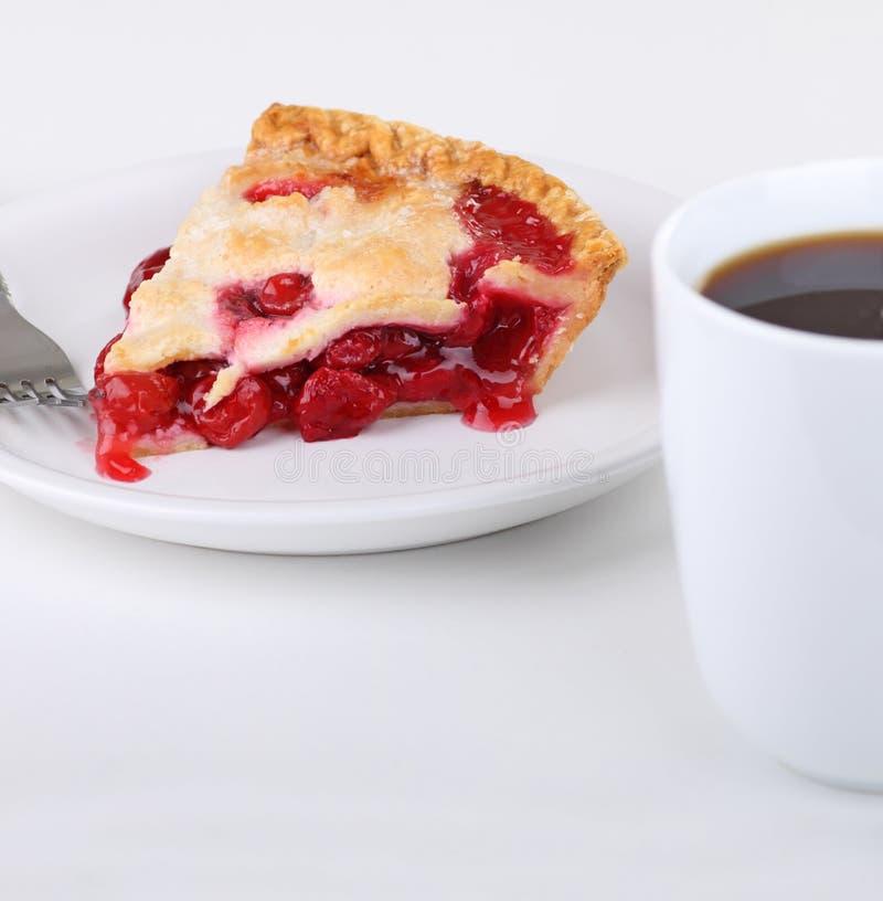 Fetta e caffè del grafico a torta della ciliegia immagini stock libere da diritti