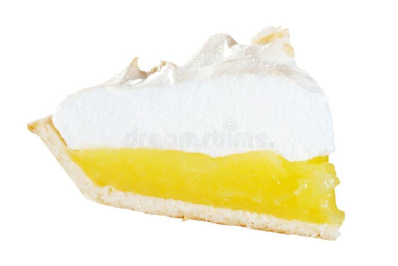 Fetta isolata del grafico a torta di meringa di limone fotografia stock libera da diritti