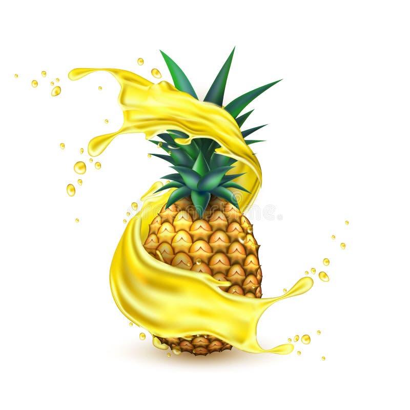 Fetta realistica della spruzzata del succo di ananas di vettore illustrazione di stock