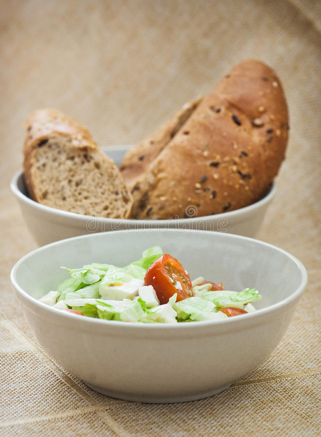 Fetta salad and bread royalty free stock photo