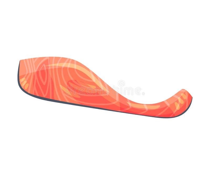 Fetta sottile di filetto di pesce rosso Illustrazione di vettore su priorit? bassa bianca illustrazione vettoriale