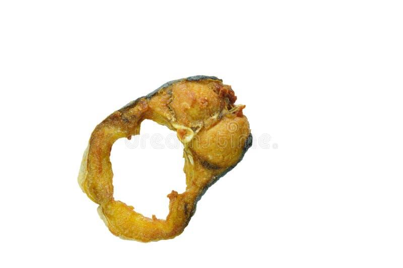 Fetta a strisce salata fritta del pesce gatto su fondo bianco fotografia stock libera da diritti
