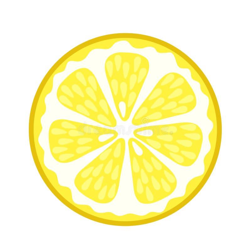 Fetta succosa fresca del limone sull'illustrazione bianca e di riserva di vettore royalty illustrazione gratis