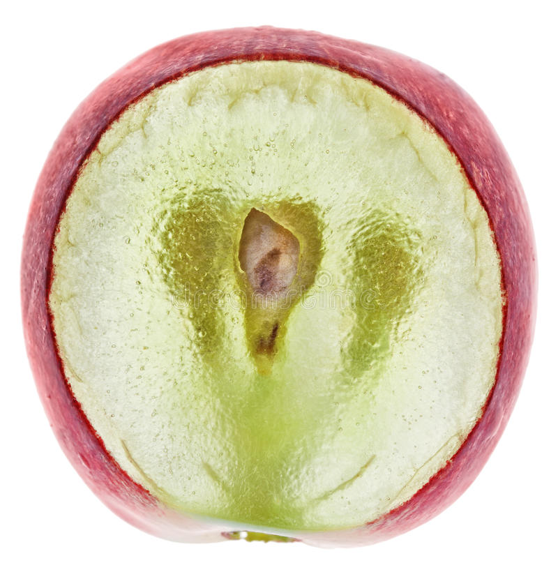 Fetta traslucida di frutta dell'uva rossa fotografie stock