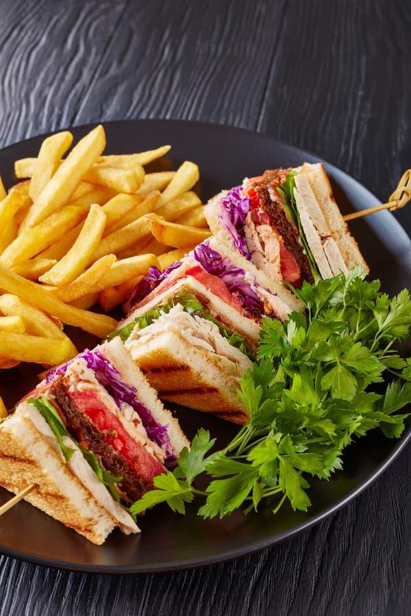Fettarme Club Sandwiche mit Chips, vertikale Ansicht stockfotos