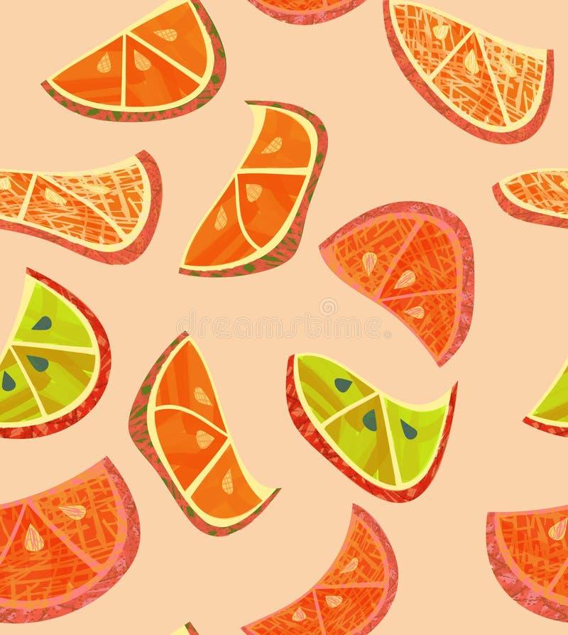 Fette arancio astratte con struttura su crema illustrazione vettoriale