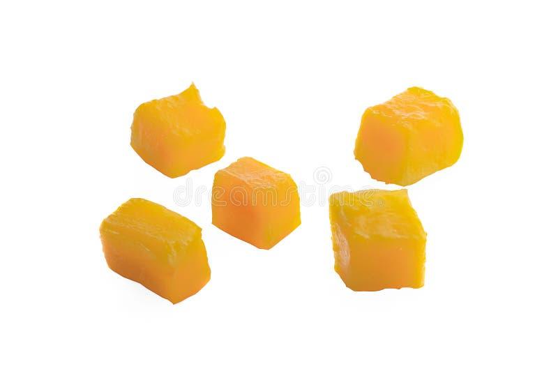Fette del cubo del mango isolate sui precedenti bianchi fotografia stock