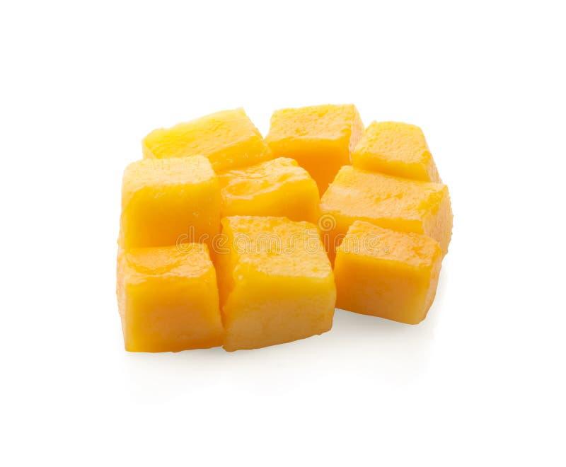 Fette del cubo del mango isolate sui precedenti bianchi immagine stock libera da diritti