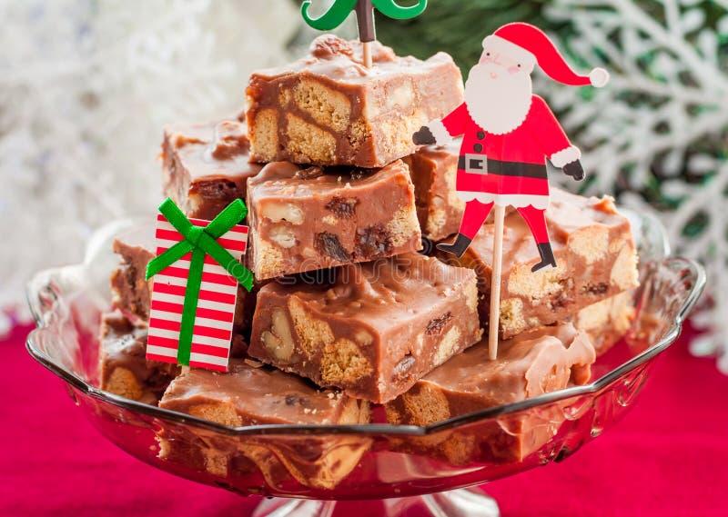Fette del fondente di cioccolato di Natale immagine stock