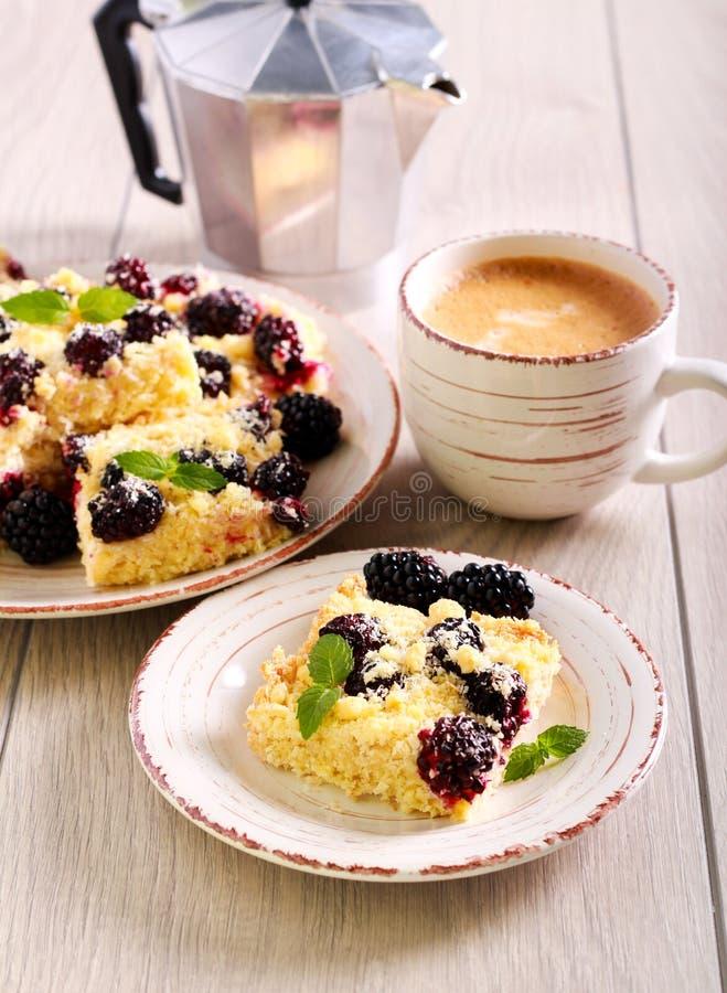 Fette della briciola della noce di cocco e di Blackberry fotografie stock libere da diritti