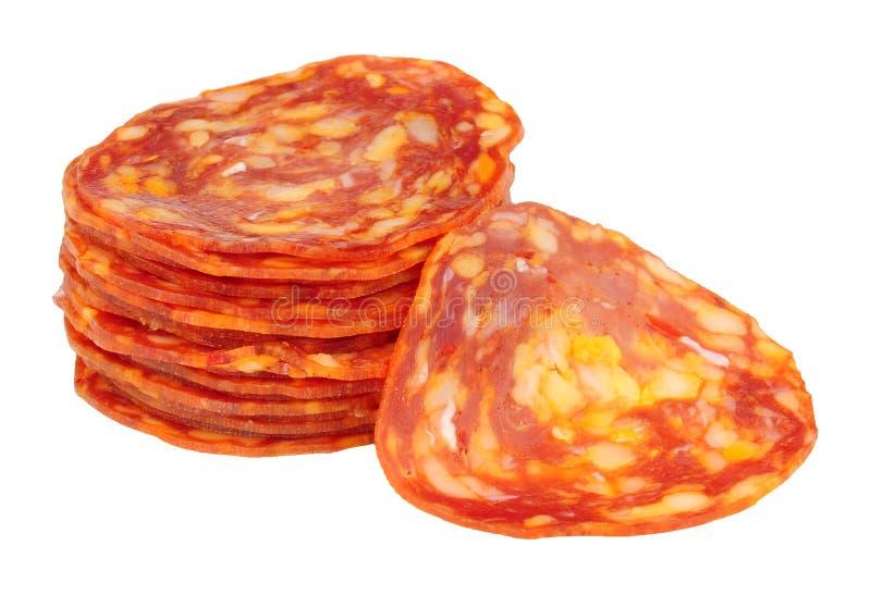 Fette della carne di salsiccia del chorizo fotografie stock