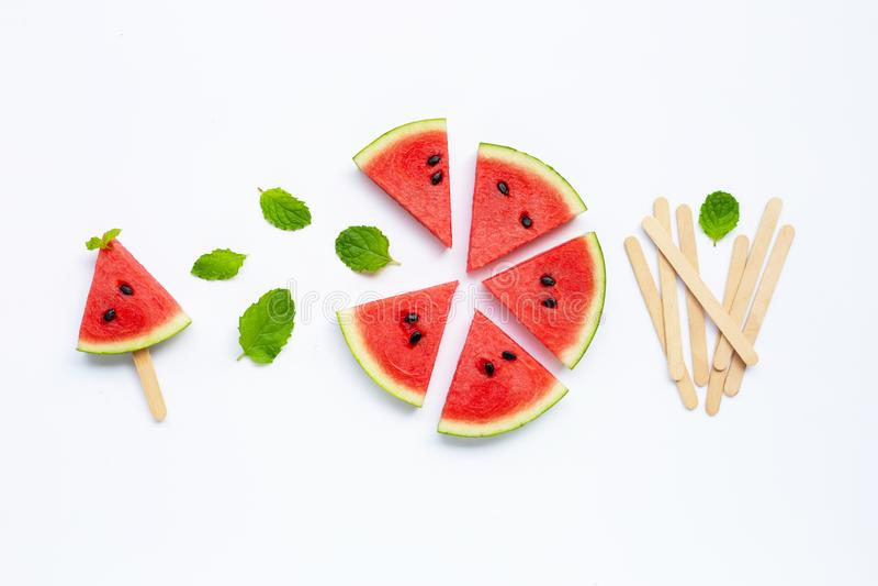 Fette di anguria con il ghiacciolo immagini stock