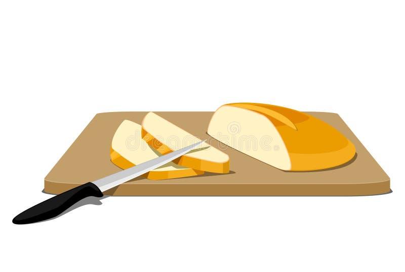 Fette di pane sul tagliere illustrazione vettoriale