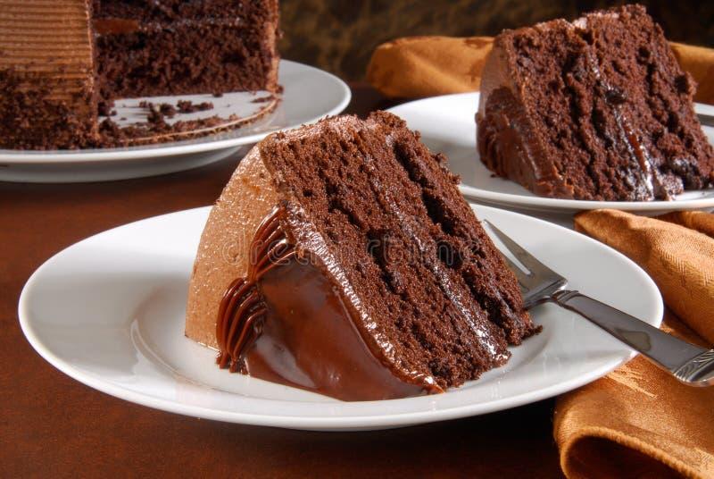 Fette di torta di cioccolato gastronomica fotografia stock