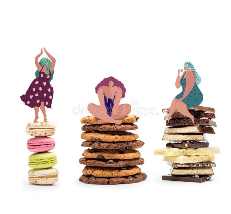 fette Frauen auf Stapel von Bonbons stock abbildung