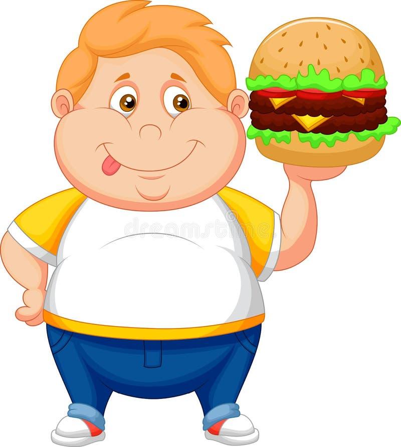 Fette Jungenkarikatur lächelnd und essfertig ein großer Hamburger lizenzfreie abbildung