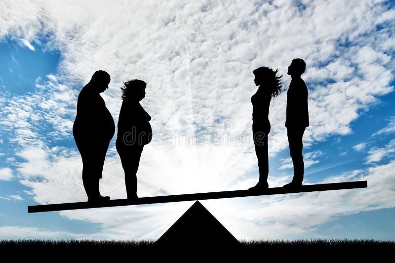 Fette Leute und Paare verdünnen Stand auf Skalen stock abbildung