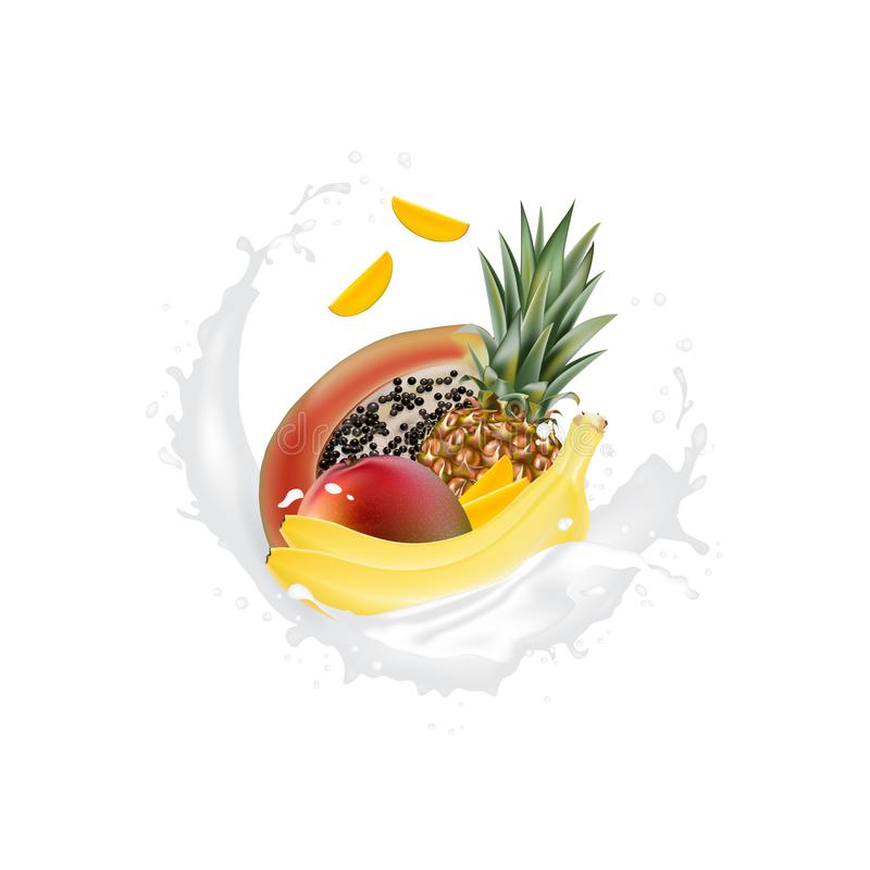 Fette realistiche fresche della frutta 3d con le gocce della spruzzata del yogurt del latte del succo isolate su un fondo bianco  royalty illustrazione gratis