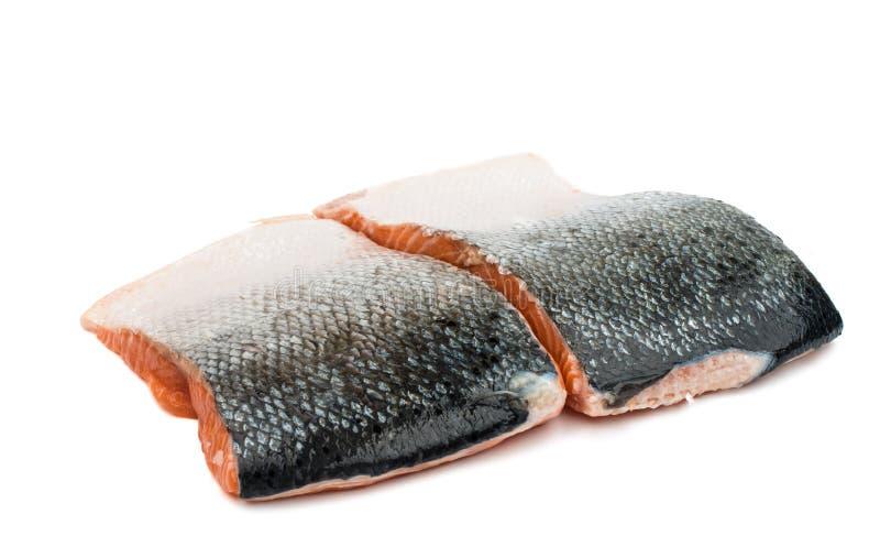 Fette rosse crude fresche del filetto di pesce fotografia stock libera da diritti