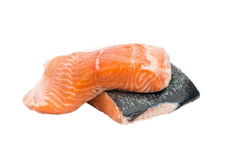 Fette rosse crude fresche del filetto di pesce immagine stock