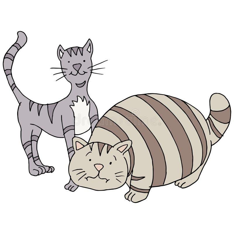 Fette und dünne Katzen stock abbildung