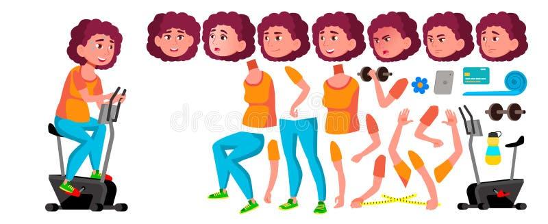 Fetter jugendlich Mädchen-Vektor Animations-Schaffungs-Satz Gesichts-Gefühle, Gesten Freunde, Leben belebt Diät, Eignung, Gesundh lizenzfreie abbildung