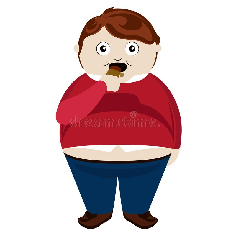 Fetter Junge, der einen Schokoriegel isst vektor abbildung
