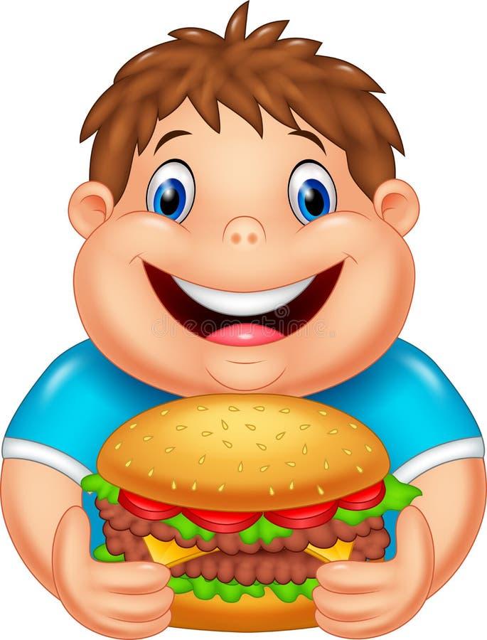 Fetter Junge der Karikatur, der großen Burger isst stock abbildung