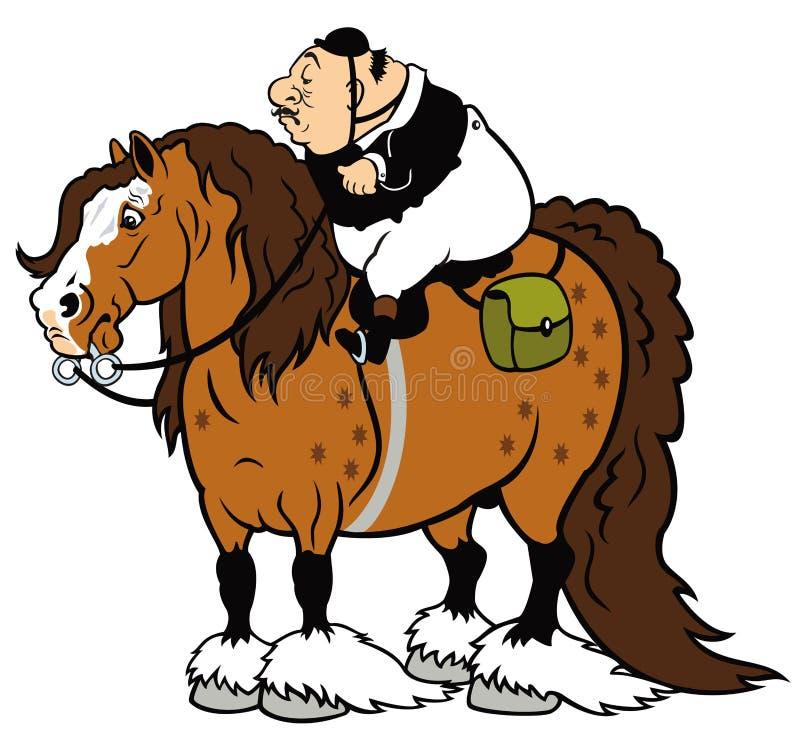 Fetter Reiter auf schwerem Pferd lizenzfreie abbildung