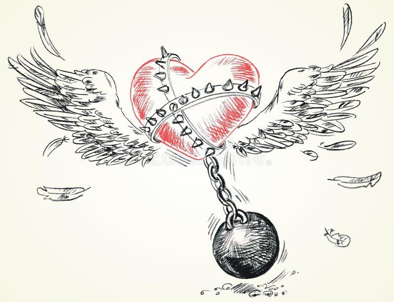 Fetters agrilhoados coração voados ilustração stock