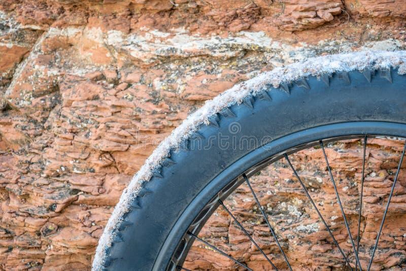 Fettes Fahrradrad gegen Sandstein lizenzfreies stockfoto