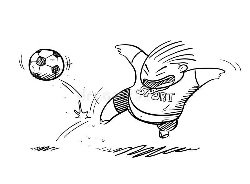 Fettes Kind, das Fußball-Gekritzel spielt vektor abbildung
