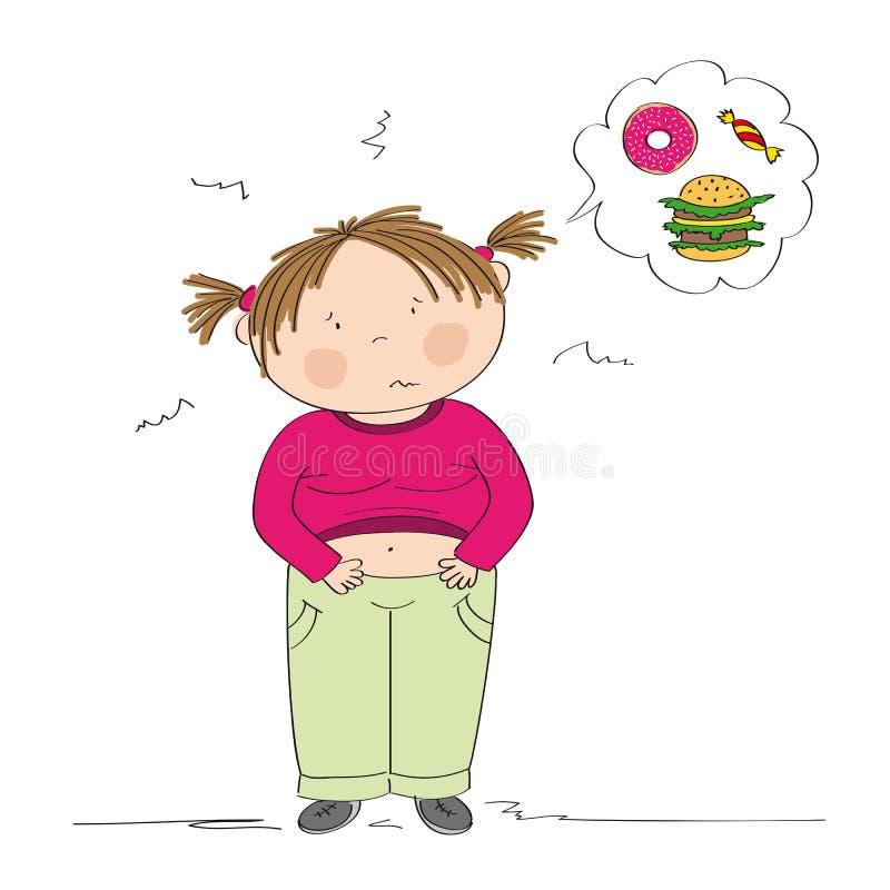 Fettes Mädchen, das unter Magenschmerzen leidet, nachdem sie zu viel gegessen hat lizenzfreie abbildung
