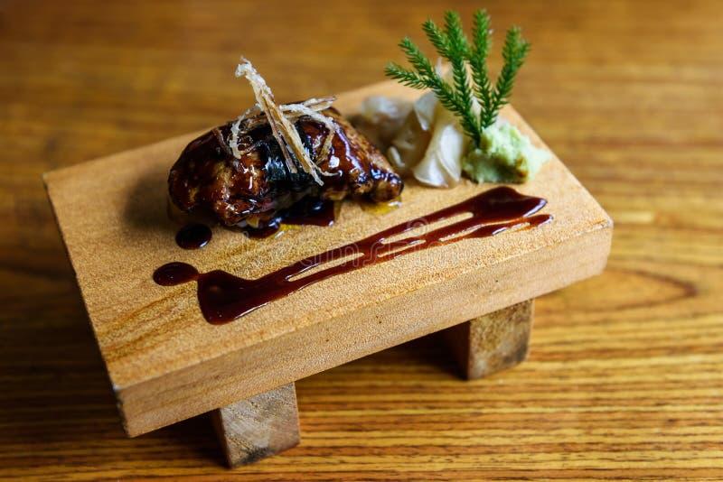 Fettlebersushi, japanisches Lebensmittel stockbild