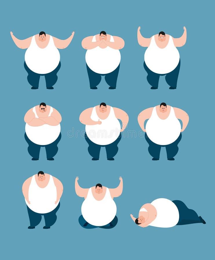Fettsatzhaltungen und -bewegung Stout Kerl glücklich und Yoga Großes Mann slee lizenzfreie abbildung