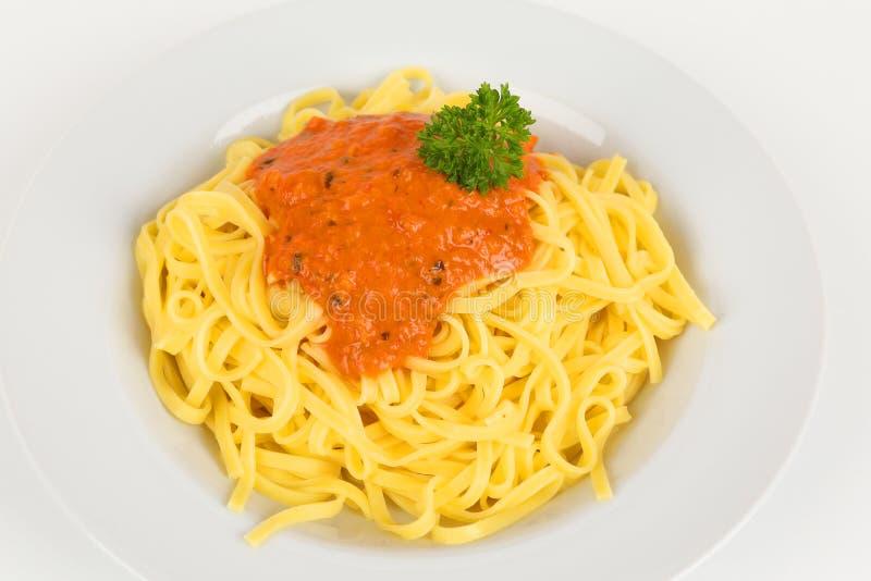 Fettuccine с томатным соусом стоковые фотографии rf