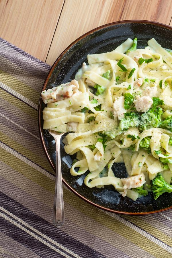 Fettuccine Alfredo Grilled Chicken photographie stock libre de droits