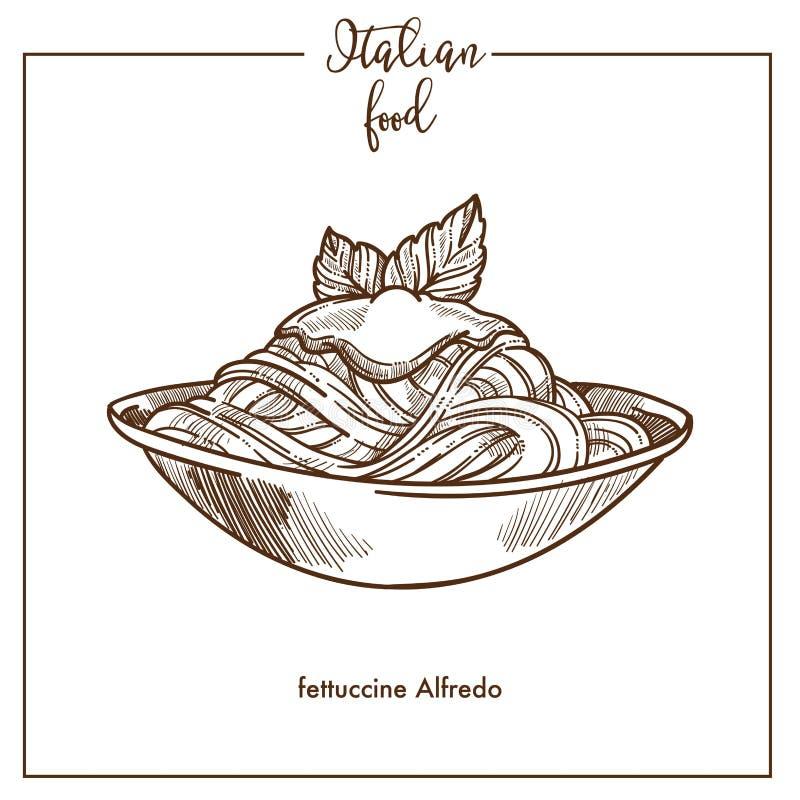 Fettuccine Alfredo pasta sketch vector icon for Italian cuisine food menu design. Fettuccine Alfredo pasta sketch icon for Italian food cuisine menu design vector illustration